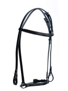 EQUES Black träns med eller utan tygel - Svart läder, silverbeslag