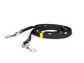 EQUES Anti-Slip tygel med färgade stoppar - Ridskoletygeln! - Svart/silver, 240cm
