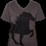 KARLSLUND T-shirt w. horse and V-neck - Mörkgrå XXL