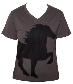KARLSLUND T-shirt w. horse and V-neck - Mörkgrå XXS