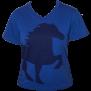 KARLSLUND T-shirt w. horse and V-neck - Blå (SLUTSÅLD!)