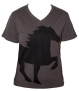 KARLSLUND T-shirt w. horse and V-neck - Mörkgrå XXL