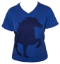 KARLSLUND T-shirt w. horse and V-neck - Blå (SLUTSÅLD!)