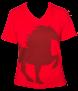 KARLSLUND T-shirt w. horse and V-neck - Röd (SLUTSÅLD!)