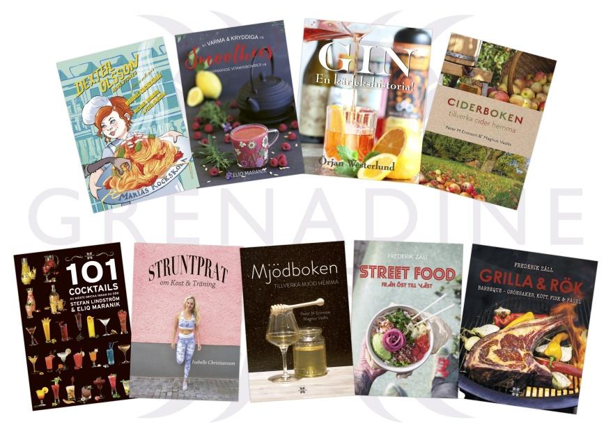 Grenadine Bokförlags böcker som utsetts till 2019 års svenska vinnare bland mat- och dryckesböcker.