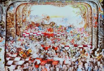 Monumentalmålning som ställts ut på Liljevalchs. monumental tagit från nätet. Målningen är ca 7 x 6 m.