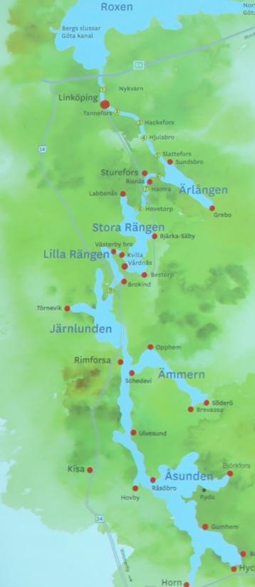 Kinda kanal från Horn i söder till Linköping i norr.