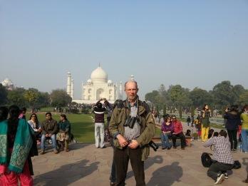 Fågelnörd framför Taj Mahal