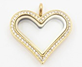 Large Gold Heart Locket with Crystals