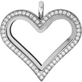Large Silver Heart Locket with Crystals