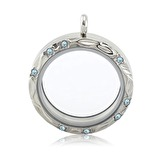 Silver memory locket with floral face and crystals