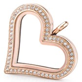 Large Rose Gold Heart Locket with Crystals