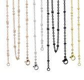 Rose gold ball station chain with lobster clasp 24''-26'' inch