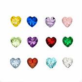 Birth stones heartshaped 5 pcs