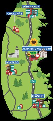 Karta så att du lätt hittar till Axmar och Axmarbruksbod