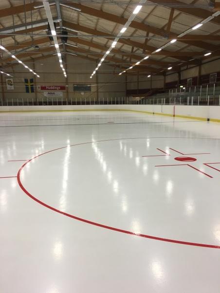 Bild på ishockeyrinken i Globen som SpiceTec byggt