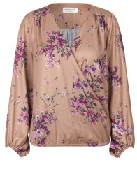 V. neck blouse - Indian tan garden print - Size 34