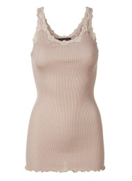 Lace silk top - Cacao - Size S