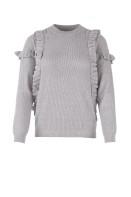 T2016 C. Grey /Knit blouse w. ruffes