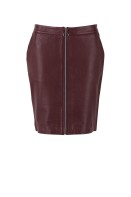 T8012 Truffle / leather pencil skirt