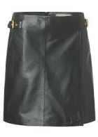 Eligio buckel leather skirt - black