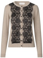 Cardigan w. lace - cacao