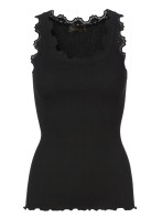 Lace silk top - Black