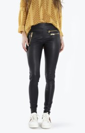 Amy leather leggins w. pockets - Size S