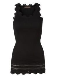 Lace silk top - vintage long - Black - Size S