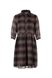 T6268 Black / woven dress - Size S
