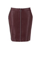 T8012 Truffle / leather pencil skirt - SIze S