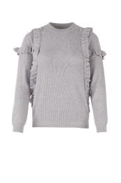 T2016 C. Grey /Knit blouse w. ruffes - Size S