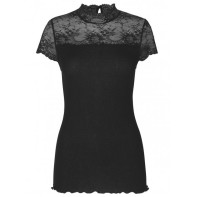 Highneck T shirt w. lace - Black