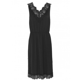 Black Silk Dress w. Lace - Size 34