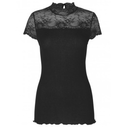 Highneck T shirt w. lace - Black - Size XS