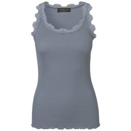 Lace silk top - dusty blue - Size M