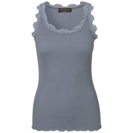 Lace silk top - dusty blue - Size S