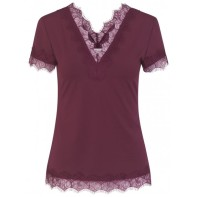V-neck T-shirt w. lace - Soft Wine