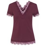 V-neck T-shirt w. lace - Soft Wine
