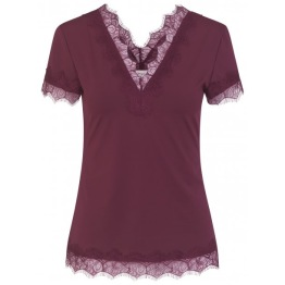 V-neck T-shirt w. lace - Soft Wine - Size S