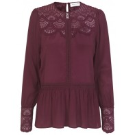 Blouse ls w. lace details - soft wine