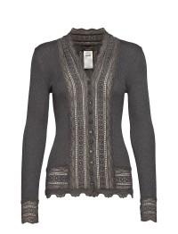 Lace Cardigan  -Grey Melange - Size S
