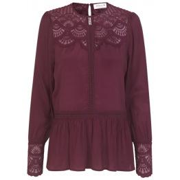Blouse ls w. lace details - soft wine - Size 36