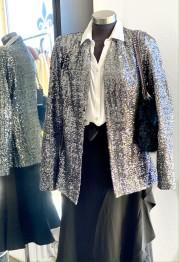 Sequin Blazer - Silver - Size S