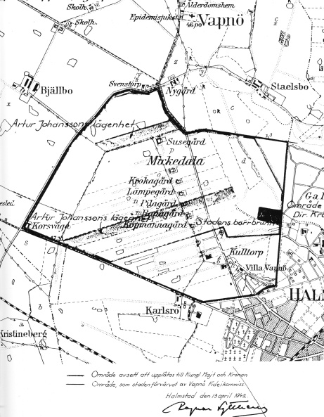 Här ses en kartbild på det område somavsatts för att uppföra F14. marken köptes av Vapnö Fideikommiss