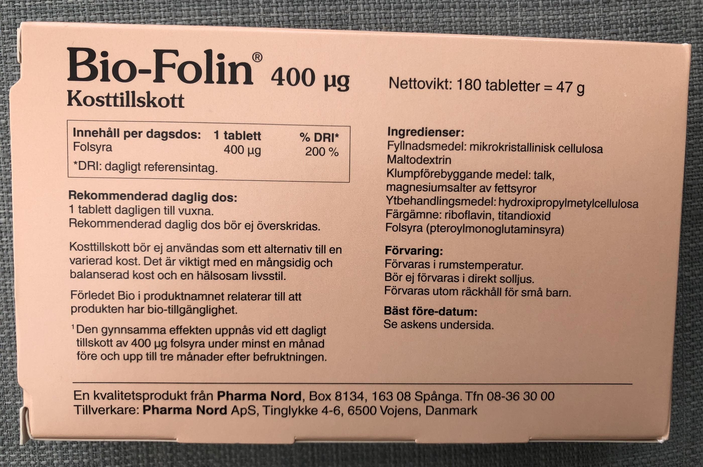 Bio Folin baksida B&F