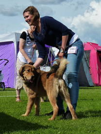 Disa with her handler Maria when becoming BOB puppy in Köping.