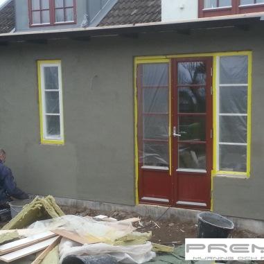 Mur & Puts arbeten vid en mindre tillbyggnad.
