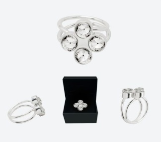 RING THE FOUR CLOVER RING Silver/Klar - RING THE FOUR CLOVER RING Silver/Klar