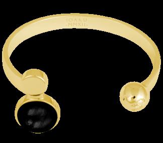 IOAKU  ARMBAND MOON CUFF GOLD/ONYX BLACK - Armband Moon Cuff
